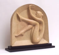 Gordon Aitcheson sculpture Arch bronze on plinth female figure bas relief