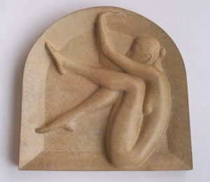 Gordon Aitcheson sculpture Arch bronze wall mounted female figure bas relief