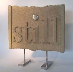 Still VI bronze Gordon Aitcheson sculpture conceptual word bas relief