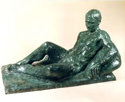 Gordon Aitcheson sculpture Waiting bronze male reclining figure
