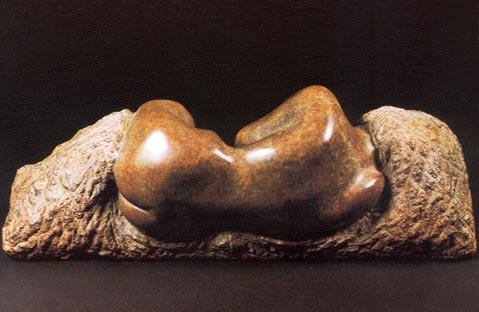 Gordon Aitcheson sculpture Reclining torso bronze female figure